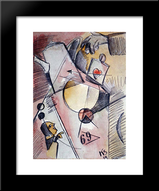 N Watercolor 1. (The Heart Goes From Sugar To Coffee): Modern Black Framed Art Print by Kurt Schwitters