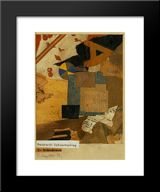 Santa Claus: Modern Black Framed Art Print by Kurt Schwitters