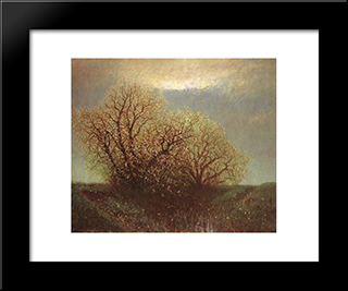 Blossoming Trees: Modern Black Framed Art Print by Laszlo Mednyanszky