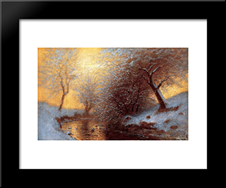 Brookside In Winter: Modern Black Framed Art Print by Laszlo Mednyanszky