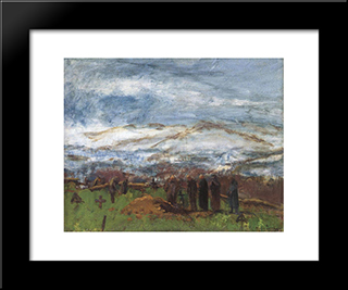 Burial In The Carpathian Mountains: Modern Black Framed Art Print by Laszlo Mednyanszky