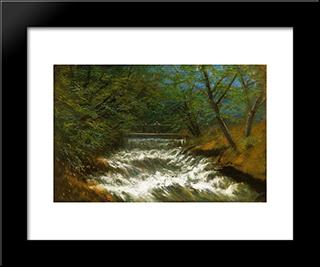 Burring Brook With Bridge: Modern Black Framed Art Print by Laszlo Mednyanszky