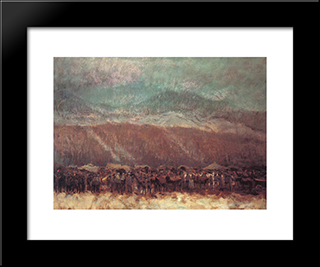 Camp: Modern Black Framed Art Print by Laszlo Mednyanszky