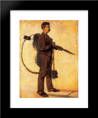 Chimney-Sweeper (Carrier Of Luck): Modern Black Framed Art Print by Laszlo Mednyanszky