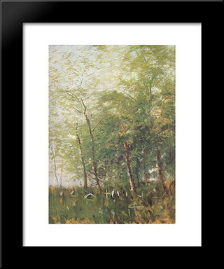 Edge Of A Forest With Crosses: Modern Black Framed Art Print by Laszlo Mednyanszky