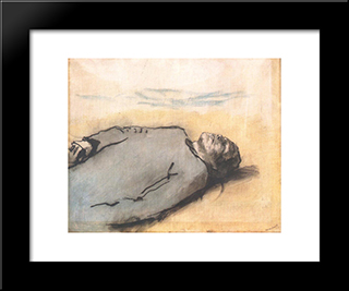 Fallen Russian Soldier: Modern Black Framed Art Print by Laszlo Mednyanszky