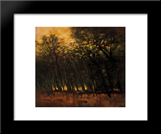 Fires In The Forest: Modern Black Framed Art Print by Laszlo Mednyanszky