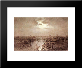Fishing On The Tisza: Modern Black Framed Art Print by Laszlo Mednyanszky