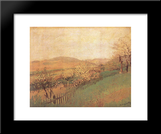 Fruit Trees: Modern Black Framed Art Print by Laszlo Mednyanszky
