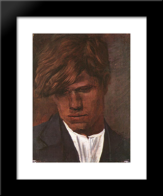 Head Of A Boy: Modern Black Framed Art Print by Laszlo Mednyanszky