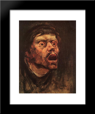 Head Of A Tramp: Modern Black Framed Art Print by Laszlo Mednyanszky