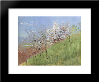 Hildside At Springtime (Little Landscape): Modern Black Framed Art Print by Laszlo Mednyanszky