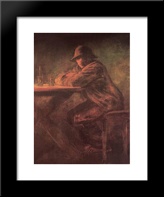 In The Tavern: Modern Black Framed Art Print by Laszlo Mednyanszky
