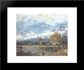 Lake In The Mountains: Modern Black Framed Art Print by Laszlo Mednyanszky