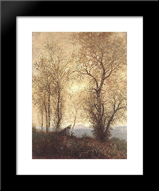 Landscape At Autumn: Modern Black Framed Art Print by Laszlo Mednyanszky