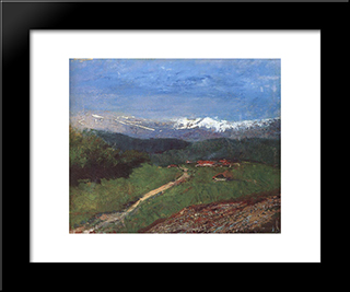 Landscape In The Alps (View From The Rax): Modern Black Framed Art Print by Laszlo Mednyanszky