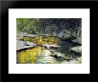 Melting Of Snow: Modern Black Framed Art Print by Laszlo Mednyanszky