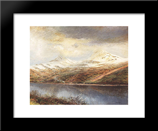 Mountain Landscape With Lake: Modern Black Framed Art Print by Laszlo Mednyanszky