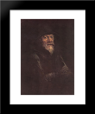 Old Man: Modern Black Framed Art Print by Laszlo Mednyanszky