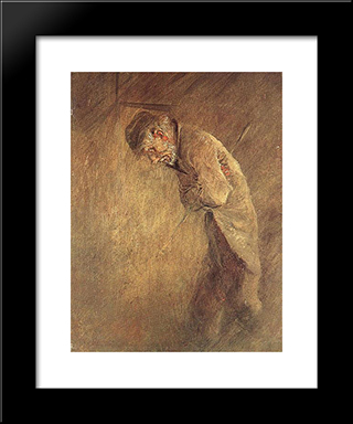 Old Tramp: Modern Black Framed Art Print by Laszlo Mednyanszky