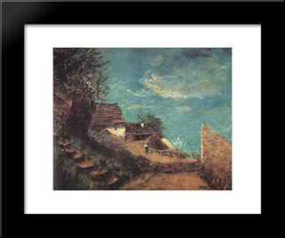 Part Of Taban: Modern Black Framed Art Print by Laszlo Mednyanszky