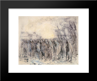 Prisoners Marching Off: Modern Black Framed Art Print by Laszlo Mednyanszky