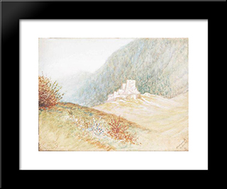 Ruins Of A Castle: Modern Black Framed Art Print by Laszlo Mednyanszky
