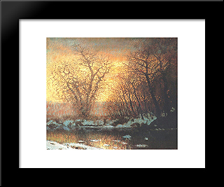 Snow-Melting: Modern Black Framed Art Print by Laszlo Mednyanszky