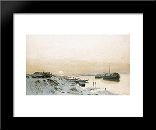 Sunrise In The Snowy Riverside: Modern Black Framed Art Print by Laszlo Mednyanszky