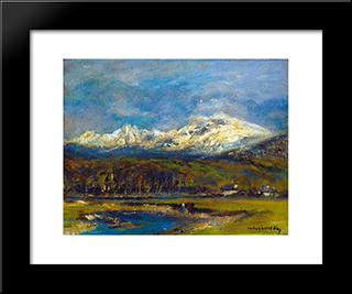 Tarn In The Tatra: Modern Black Framed Art Print by Laszlo Mednyanszky