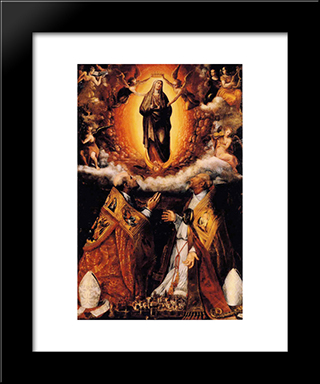 Assumption Of The Virgin With Saints Peter Chrysologus, And Cassian: Modern Black Framed Art Print by Lavinia Fontana