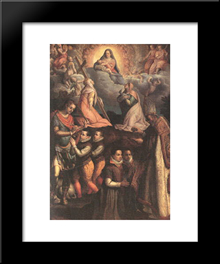 Consecration To The Virgin: Modern Black Framed Art Print by Lavinia Fontana