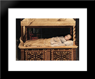 Newborn Baby In A Crib: Modern Black Framed Art Print by Lavinia Fontana