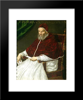 Pope Gregory Xiii: Modern Black Framed Art Print by Lavinia Fontana