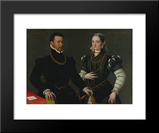 Portrait Of A Couple: Modern Black Framed Art Print by Lavinia Fontana