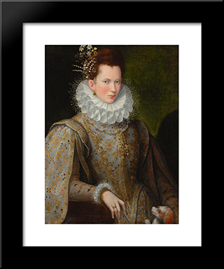 Portrait Of A Lady Of The Court: Modern Black Framed Art Print by Lavinia Fontana