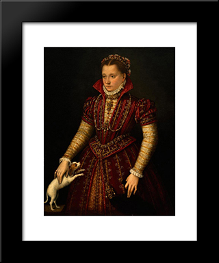 Portrait Of A Noblewoman: Modern Black Framed Art Print by Lavinia Fontana