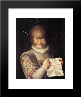 Portrait Of Antonietta Gonzalez: Modern Black Framed Art Print by Lavinia Fontana