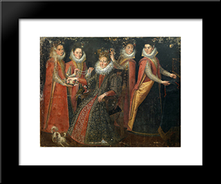 Portrait Of Five Women With A Dog And A Parrot: Modern Black Framed Art Print by Lavinia Fontana