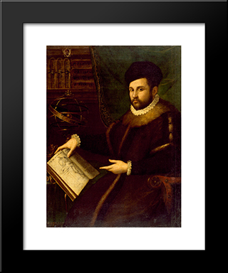 Portrait Of Gerolamo Mercuriale: Modern Black Framed Art Print by Lavinia Fontana
