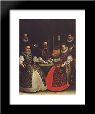 Portrait Of The Coozzadini Family: Modern Black Framed Art Print by Lavinia Fontana