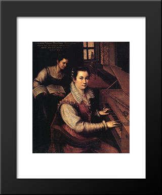 Self-Portrait At The Clavichord With A Servant: Modern Black Framed Art Print by Lavinia Fontana