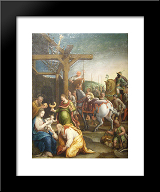 The Adoration Of The Magi: Modern Black Framed Art Print by Lavinia Fontana