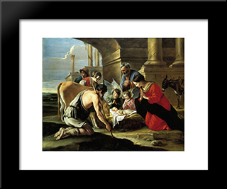 Adoration Of The Shepherds: Modern Black Framed Art Print by Le Nain brothers