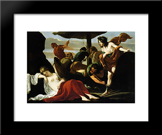 Bacchus And Ariadne: Modern Black Framed Art Print by Le Nain brothers