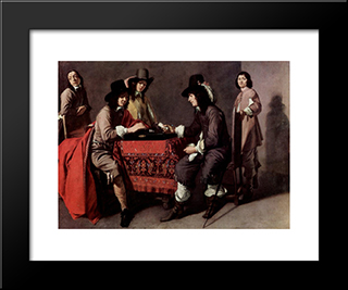 Backgammon Players: Modern Black Framed Art Print by Le Nain brothers