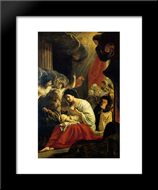 Birth Of The Virgin: Modern Black Framed Art Print by Le Nain brothers