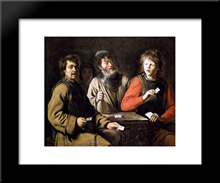 Card Players: Modern Black Framed Art Print by Le Nain brothers