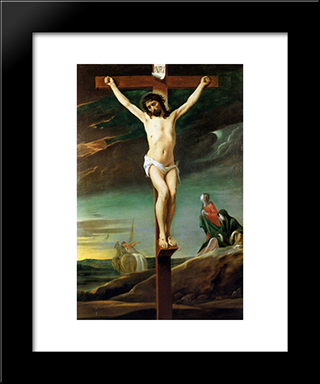Christ On The Cross: Modern Black Framed Art Print by Le Nain brothers