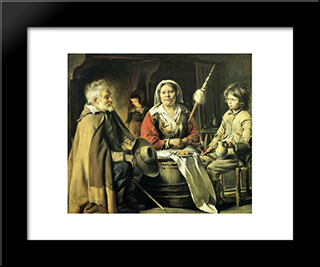 Country Interior: Modern Black Framed Art Print by Le Nain brothers